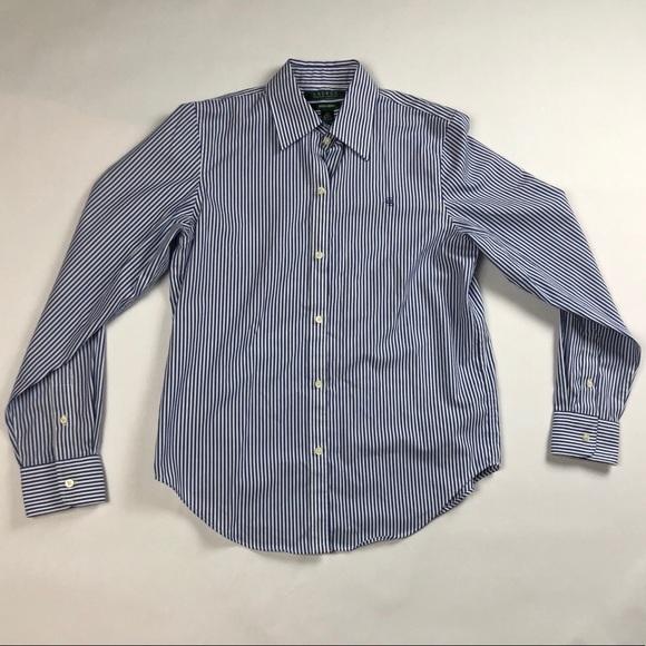 2d3162c4674c6 Ralph Lauren Pinstriped No-Iron Button Down Shirt.  M 5ae51506a6e3eaeee3209519